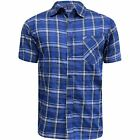 New Mens Cambridge Short Sleeve Shirt Striped Checked Flannel Summer Office Work