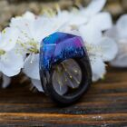 Wooden Resin Ring Aurora Borealis Wood And Resin Ring Anniversary Gift For Wife