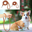 Real Genuine Leather Pet Dog Training Lead Leash Soft Braided Silver Hook Brown