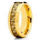 Tungsten Wedding Band - Yellow Gold Ring - Carbon Fiber - Comfort Fit - 8mm Men