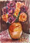Original art watercolour painting vase of roses Fauvism Home decor wall art pink