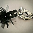 Couples Masquerade Ball Feather Veil Wedding Prom Halloween Party Masks