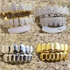 14K Gold Plated High Quality CZ Iced Two Tone Top & Bottom GRILLZ Mouth Teeth