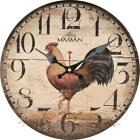 Retro Round Wooden Wall Clock Cuisine Cock Rustic Home Office Wall Decoration