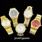Mens 14k Gold Plated Iced out Simulated Diamond Hip Hop Rapper Techno Pave Watch image