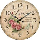Retro Round Wooden Wall Clock Flower Roses Love Home Office Wall Decoration