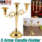 3 Arms Metal Crafts Candelabra Alloy Candle Holder Stand Wedding Home Decor