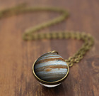 Solar System Pendants Necklace Galaxy/Planet Necklace S Double Sided Glass Dome