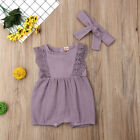 Cute Newborn Baby Girls Clothes Ruffle Sleeve Romper 2PCS Outfits Sunsuit 0-24M
