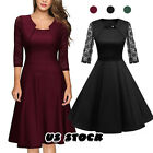 US Women Casual Short Sleeve Solid Vintage Swing High-Waist Pleated Party Dress