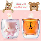 Latest Cherry Blossom Cup Pink Cat Claw Double Glass Limited Edition Couple Gift
