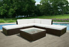 Rattan Garden Funiture Set Conservatory Patio 5 Seaters Corner Sofa Glass Table