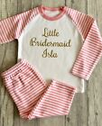 PERSONALISED LITTLE BRIDESMAID PYJAMAS, Wedding Pink and White PJs Gold Glitter