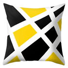 Modern Scandi Geometric Cushion Mustard Yellow and Grey Sofa Case Cover UK Stock