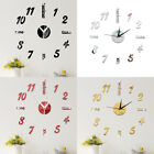 Modern diy wall clock sticker small/ large number 3d mirror surface home dec HS