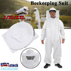 Cotton Full Body Beekeeping Jacket Bee Keeping Coverall Suit w/ Hat-Veil L-XXL