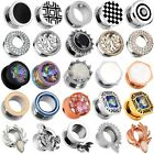 "316L Stainless Steel Ear Gauges Punk Flesh Tunnels Plugs Body Piercing 2g-5/8"" image"