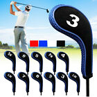 12Pcs Golf Clubs Iron Head Covers Headcovers with Zipper Long Neck Protect