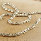 Solid Sterling Silver Italian Rope Chain Mens 925 Necklace 4mm - Made In Italy image