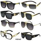Men's Hip Hop Vintage Black Gold Frame Clear Lens Wood Glasses