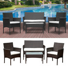 Set Of 4 Patio Garden Furniture Conservatory Outdoor Table + Chairs Rattan Home