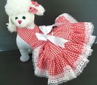 DOG DRESS/HARNESS  RED CHECK COUNTRY  WITH WHITE LACE  FREE SHIPPING