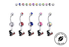 Houston Texans Silver Belly Button Navel Ring - Customize Gem Color - NEW on eBay