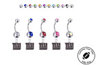 New York Giants Silver Belly Button Navel Ring - Customize Gem Color - NEW on eBay