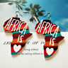 Girls Wooden Ethnic  African Painted Earrings Drop Fashion Jewelry G
