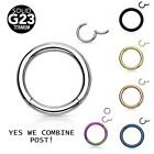 Fashion Seamless Hinged Clicker Ring Hoop Ear Lip Nose Septum Piercing Gifts