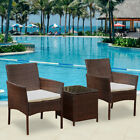 Rattan Patio Garden Furniture Set Table + Chairs Outdoor Conservatory Home Black