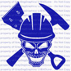 Roofer Skull Vinyl Decal Tools Roof Roofing Building Construction Sticker Auto