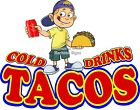 Tacos DECAL CHOOSE YOUR SIZE Cold Drinks Food Truck Restaurant Concession