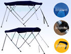 Boat Bimini Top 3 Bow / 4 Bow Navy Blue Canopy Cover 6ft / 8ft Long Freee Clips image