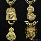 Mens 18K Gold Plated Cuban Jesus cross Virgin Mary pendant necklace chain Link  image