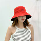 Women Pure Color One Fisherman Bucket Hat Summer Sun Hat Travel Double-sided Cap