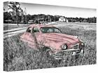 Old Vintage Retro Classic Pink American Car canvas wall art Picture print