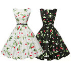 Womens 50s 60s Style Vintage Floral Rockabilly Swing Midi Skater Dress With Belt