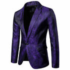 Fashion Mens Jacquard Suit Coat Casual Slim Formal One Button Blazer Jacket Tops
