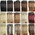 "Human Hair Extensions 15""-22"" 7PCS NEW Clip In Any Colors Full Head BEST OFFER"