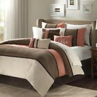 7pc Coral & Khaki Brown Microsuede Comforter Set AND Decorative Pillows image