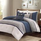 7pc Heather Grey & Blue Microsuede Comforter Set AND Decorative Pillows image