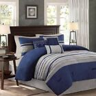 Modern 7pc Blue & Grey Microsuede Comforter Set AND Decorative Pillows