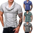 Mens Cowl Neck Drawstring Short Sleeve T-Shirt Tops Summer Muscle Casual Tee US image