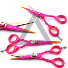 "4.5"", 5"", 5.5"", 6"" Pink Color Barber Scissor Hairdressing Haircutting Shear"