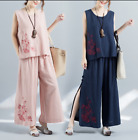 Summer Women's Cotton Linen Retro Embroidered Suit Sleeveless Loose Tops Pants