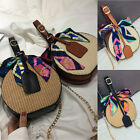 Women Summer Round Straw Shoulder Bags Rattan Bag Woven Beach Crossbody Tote Us