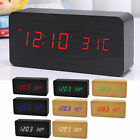 Modern Wooden Wood USB/AAA Digital LED Alarm Clock Calendar Thermometer Gifts EN