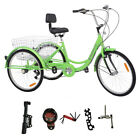 "24"" 7 Speed Unisex Adult Tricycle 3 Wheel Bicycle Trike With Backrest&Basket New"