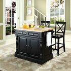 Crosley Butcher Block Top Kitchen Island with 24 in. X-Back Stools